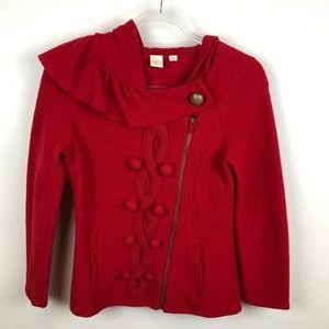 Anthro Little Yellow Bird Red Zip Up Sweater Wool